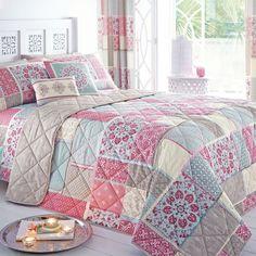 Shantar Patchwork Print Bedspread, Pink
