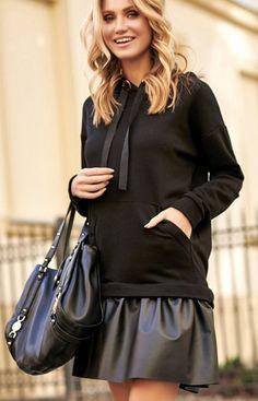 Sportowa sukienka z eko-skórą Makadamia czarna M515 Rebecca Minkoff, Leather Skirt, Blouse, Long Sleeve, Skirts, Sleeves, Tops, Women, Fashion