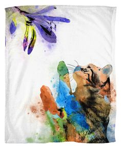 Throw Blanket, Fleece Blanket, Sofa Throw, Cat 610 flower watercolor digital art Lucie Dumas by artbyLucie on Etsy