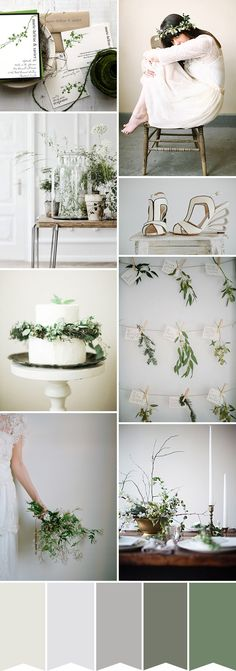Cream, Grey and Green Wedding Color Ideas