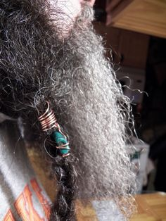 My husband likes to wear 2 side beads with the middle of beard loose. or as in other beard photos above the 2 outside braids have hole skull beads and the center skull bead is 9 mm hole bead. Beard Decorations, Beard Accessories, Beard Jewelry, Beard Beads, Beard Gifts, Beard Styles, Hair Styles, Boho Jewelry