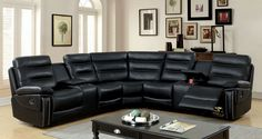 Furniture Of America Cavan Double-stitched transitional style black leather recliner sectional This contemporary sectional has a Sectional, Furniture Of America, Sectional Sofa With Recliner, Sofa, Furniture, Leather Recliner, Couches Living Room, Christmas Decorations Living Room, Reclining Sectional