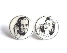 Telephone conversation - stud earrings with a sweet retro touch by Barking King