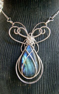 Labradorite Sterling Silver Wire Wrap Necklace