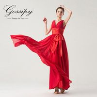 Sexy Back V-Neck Red Long Evening Dress 2015 New Arrival Formal Dresses Sashes with Bow Evening Gown Robe De Soiree MTF4