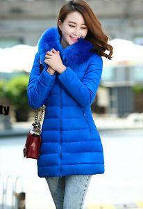 New Fashion Winter Women Down Cotton Parka Long Fur Collar Hooded Coat Jacket | eBay