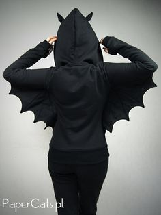 Black bat hoodie made of black stable cotton. Hoodie has twop big bat wings and ears. Sweatshirt has a double hoods, zip on the front and two big pockets. It fits with the indentation at the waist, suits perfectly to feminine figure.  You can wear it under the jacket, after leaving the arms, wings are closed.  Check your size.  Shipping time to: Europe to 10 days US and Canada 7- 30 days Australia and the rest of the world- 10-30 to days  Very rarely international shipping time may takes…