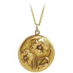 Preowned Art Nouveau Diamond Yellow Gold Floral Design Locket (3,140 CAD) ❤ liked on Polyvore featuring jewelry, necklaces, drop necklaces, yellow, 18k yellow gold necklace, 18 karat gold necklace, floral necklace, yellow necklace and yellow diamond necklace