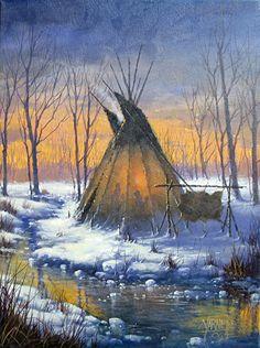 Great Plains Teepee by Joseph Yarnell Acrylic ~ 12 x 16