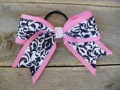 Large Cheer bow Beautiful Pink with Black and White Damask Hair bow with faux pearls on Etsy, $12.00