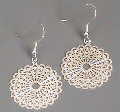 Silver fan earring, circular with laser cut details | sassylu - Jewelry on ArtFire