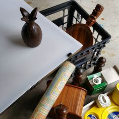 Today's behind the scenes preview is semi al fresco. Such a gorgeous day I'm set up in the garage with the door wide open. Even shooting warm-weather items --Hawaiian tiki server mahogany pineapple candle holder picnic plates. . . . #ebaystore #behindthescenes #vintageetsy #estatesalefinds #tikibar #entertainingathome  #smallbusinessowner #ebayseller #productphotoshoot