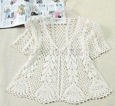 White crochet jacket, cardigan or sweater Pull Crochet, Gilet Crochet, Crochet Jacket, Crochet Cardigan, Crochet Hooks, Crochet Top, Bolero Crochet, Simple Crochet, Crochet Summer