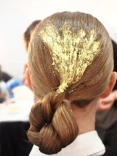 gold leaf decoration, braid turned up, doubled up