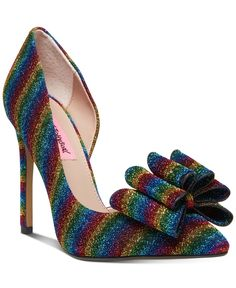 Betsey Johnson Prince D'orsay Evening Pumps Women's Shoes In Rainbow Stilettos, Women's Pumps, High Heels, Casual Loafers, Casual Sneakers, Betsey Johnson, Rainbow Heels, Heeled Boots, Shoe Boots