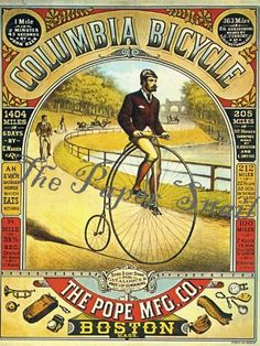 """Columbia Bicycle poster 1886 """"An ever saddled horse which eats nothing"""" Velo Vintage, Vintage Cycles, Vintage Bikes, Vintage Labels, Vintage Ads, Vintage Posters, Vintage Photos, Retro Posters, Retro Ads"""