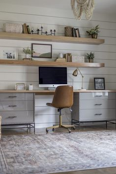 Awesome 40 Splendid Living Room Floating Shelves Design Ideas That You Must Try Cozy Home Office, Guest Room Office, Home Office Design, Home Office Decor, Home Decor, Office Desks For Home, Office With Two Desks, Home Offices, Vintage Office Decor