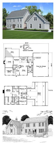 Colonial House Plan 24966 | Total Living Area: 2138 sq. ft., 3 bedrooms and 2.5 bathrooms. #houseplan #colonialhome