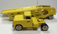 Vtg 50's 60's TONKA Yellow Hauler Truck & Trailer Great Condition Mound MN 40 #Tonka