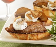 Balsamic-Glazed Pear and Goat Cheese Crostini Recipe  | Epicurious.com