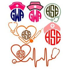 Nurse Monogram Frames Cuttable Design Cut File. Vector, Clipart, Digital Scrapbooking Download, Available in JPEG, PDF, EPS, DXF and SVG. Works with Cricut, Design Space, Sure Cuts A Lot, Make the Cut!, Inkscape, CorelDraw, Adobe Illustrator, Silhouette Cameo, Brother ScanNCut and other compatible software.