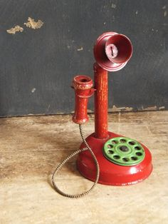 Vintage Toy Candlestick Phone Red by TreasuredPrimitives on Etsy