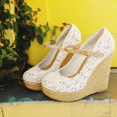 Step into spring with these pretty crocheted lace wedges!