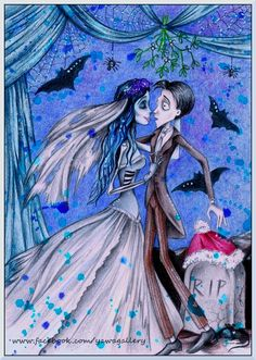You may kiss the bride (Corpse Bride fanart) by Yawannka on DeviantArt Corpse Bride Art, Emily Corpse Bride, Corpse Bride Wedding, Tim Burton Characters, Tim Burton Films, Nightmare Before Christmas Drawings, Bride Pictures, Dark And Twisted, Universe Art