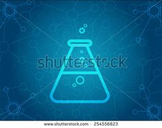 Abstract molecules background with flask icon