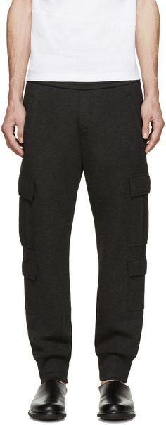 Neil Barrett Grey Neoprene Cargo Lounge Pants