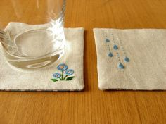 Raindrops and Flowers Hand Embroidered Coasters by yhandmade
