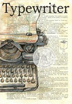 Typewriter Mixed Media Drawing on Distressed, Dictionary Page - print available for purchase at www.etsy.com/shop/flyingshoes - flying shoes art studio