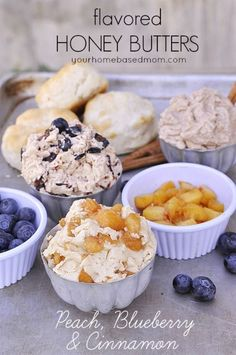 Flavored Honey Butters}Peach, Blueberry and Cinnamon via @Leigh Anne, YourHomebasedMom  YUMMO!