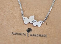 Sterling Silver butterfly necklace Double Tiny by Fimonita
