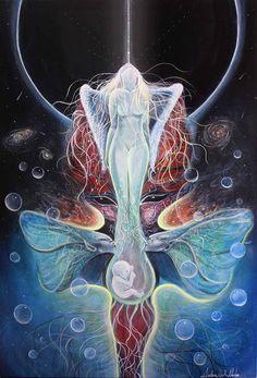 Cosmic Birth Visionary Art acrylic on canvas 38.5cm x 55cm from Ainhoa Neith