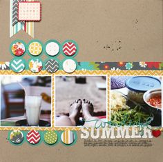 Simple Stories- Summer Fresh Collection Scrapbook layout by Eva Pizarro - Use popped up circles over a die cut for a fun element. Scrapbook Designs, Scrapbook Sketches, Scrapbook Page Layouts, Baby Scrapbook, Scrapbook Paper Crafts, Scrapbook Cards, Paper Crafting, Scrapbooking Digital, Picture Layouts
