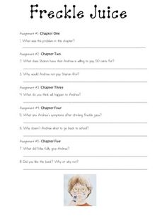 Worksheet Freckle Juice Worksheets freckle juice book clubs and freckles on pinterest comprehension questions