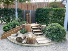 Nature inspired play area. Providing a natural slide area for the children to enjoy.