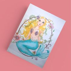 Mermaid postcard birthday card fairytale card. Beautiful card to sent to Someone special. Look for more cards, posters and totes at LumisaDesign.