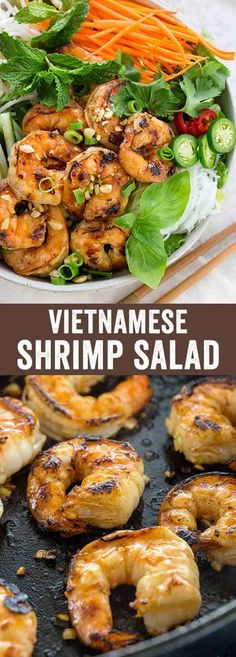 Vietnamese shrimp salad is a light meal packed with bold flavors and serious crunch. A traditional rice noodle salad loaded with seared shrimp, crisp vegetables, and an irresistible nuoc cham sauce. #shrimpsalad via @foodiegavin