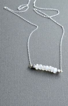 Moonstone and Sterling Silver Gemstone Bar Necklace by AlaskaDaisy