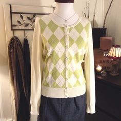 Talbots Argyle Button Sweater Like new... Button up cardigan sweater has a little sparkle within the green and cream colored argyle pattern  Talbots Sweaters Cardigans