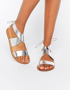 850365c9de4 Buy Silver Asos Leather sandals for woman at best price. Compare Sandals  prices from online stores like Asos - Wossel Global