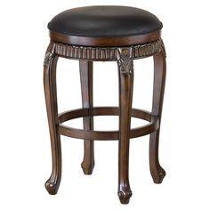 Backless counter stool with an upholstered swivel seat and distressed cherry finish.  Product: Counter stoolConstruc...