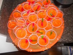 Halloween Jello Shots with Vodka-Soaked Gummy Worm, Easy and Fun