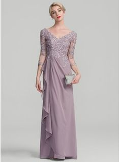 A-Line/Princess V-neck Floor-Length Chiffon Lace Mother of the Bride Dress With Beading Sequins Cascading Ruffles (008114240)
