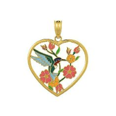 Amazon.com: 14k Gold Animal Necklace Charm Pendant, Hummingbird Heart Stained Glass With Ena: Million Charms: Jewelry