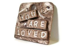 You Are Loved  Ornament  Gift Topper  Pendant  Clay Tag by LiLaO, $10.00