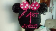 Front of Minnie Mouse Pinata made for my niece 1st birthday