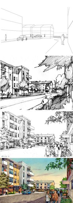 RTKL, Chicago.  Dayton, OH Montgomery Fairgrounds. Rendering process: Wireframe with entourage added, thumbnail sketch, inked drawing, color. Renderings by Bruce Bondy, Bondy Studio, Northbrook, IL